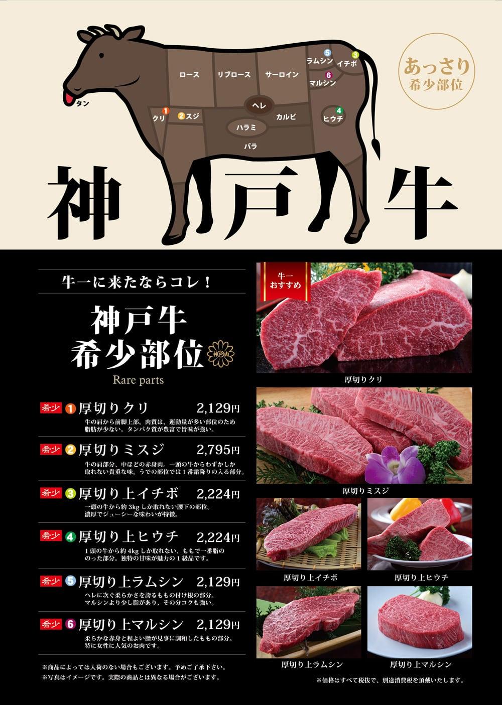 神戸牛ステーキコースメニュー